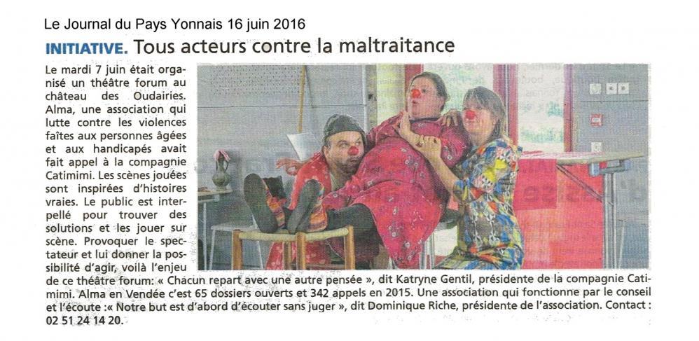 Le journal du pays yonnais 16 juin 2016 association alma et cie catimimi saint gilles croix de vie
